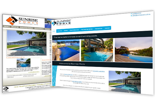 Before and after screenshots sunrisepools.com.au